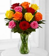 Assorted Colour Dozen Roses Vase Arrangement