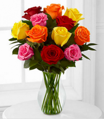 Assorted Colour Dozen Roses Vase Arrangement