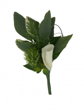 B10-15 Assorted Foliage and Rose PetalBoutonniere