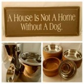 Assorted Pet Bowls, and Pet Sign