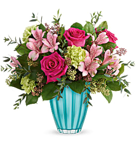 Assorted pinks in Teal Vase Arrangement