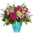 Assorted pinks in Teal Vase Arrangement