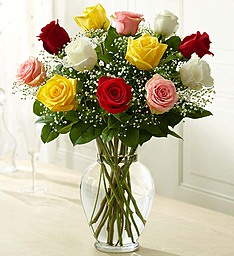 Assorted Premium  Roses in clear vase  Vase Arrangement in Sunrise, FL | FLORIST24HRS.COM