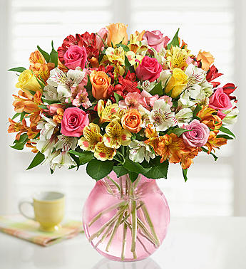 Assorted Roses & Peruvian Lilies. From Roma Floris