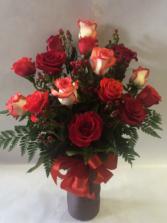 15 Assorted Red & Varrigated Rose Vase Arrangement