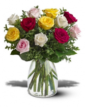 Assorted Roses Vased