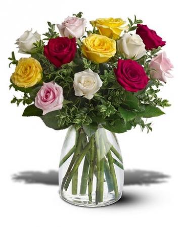 Assorted Roses Vased