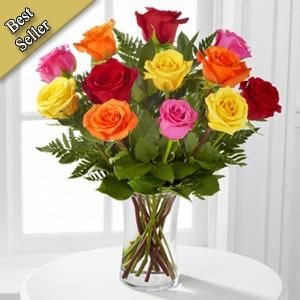 Assorted  Roses Vased Arrangement