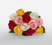 Assorted Roses Wrapped Bouquet