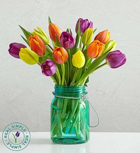 Assorted Tulips with Mason Jar by Real Simple® Fresh Arrangement