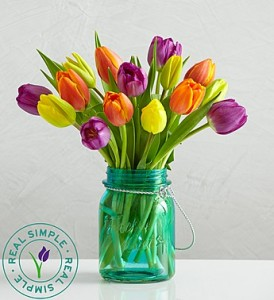Assorted Tulips in Mason Jar  By Real Simple