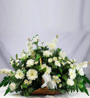 assorted white flowers in fire side basket in Lebanon, NH | LEBANON GARDEN OF EDEN FLORAL SHOP