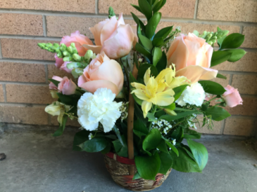Astro Lily & Rose Basket Funeral Flowers