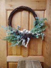 Asymmetrical Winter Wreath Artificial Arrangement