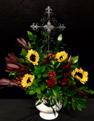 At The Cross Sunflower with Mixed  in Plainview, TX | Kan Del's Floral, Candles & Gifts