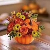 Athas60 Pumpkin with fall flowers