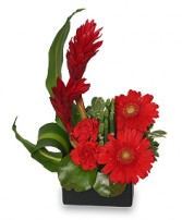 Radiant In Red Floral Arrangement