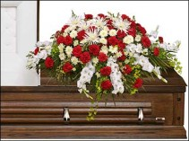 GRACEFUL RED & WHITE CASKET SPRAY  Funeral Flowers