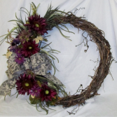 Aubergine Sunflower Wreath Permanent Arrangement by Inspirations Floral Studio