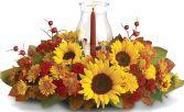 AUNTUMN GLASS FLOWERS  CENTERPIECE