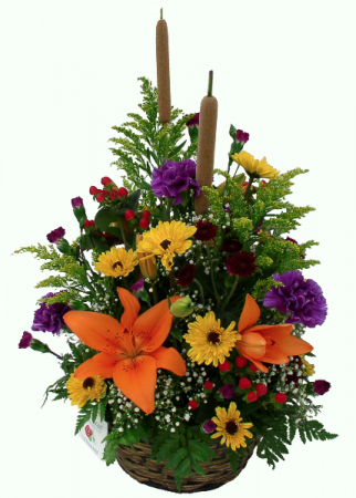 Autumn Basket of Cheer   Basket arrangement