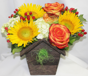 Autumn Bird House Fresh Floral Design