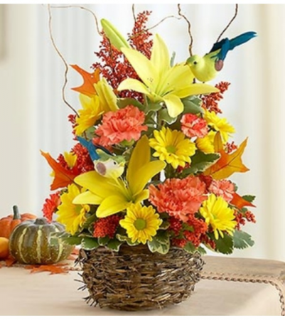 Autumn Birds Nest of Flowers™ Arrangement