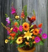 Autumn Breeze  Basket of Seasonal Flowers