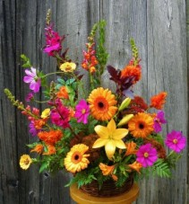 Autumn Breeze  Basket of Seasonal Flowers