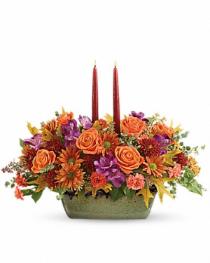 Autumn Candle Centerpiece  in Raleigh, NC | Bloom Works