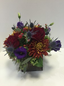 Autumn Charm Deep colors in a wooden box in Northport, NY | Hengstenberg's Florist