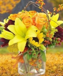 "Autumn Colors 14""h Freshly Gathered Fall Flowers in Glass Cylinder"