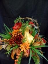 Autumn Colors Basket Silk Floral Arrangment