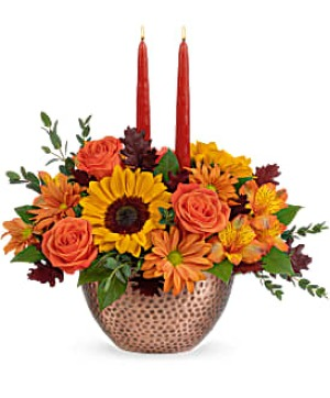 Autumn Copper Centerpiece Arrangement in Winnipeg, MB   Ann's Flowers & Gifts