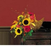 Autumn Cornucopia Basket Arrangement