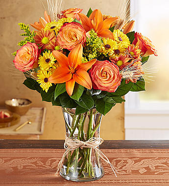 Autumn Elegance, Brilliant Shades of Fall Vased Lilies, Roses, Chrysanthemums and More!