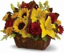 Autumn Floral Basket Arrangement