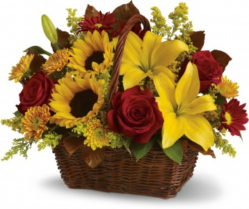 Autumn Floral Basket Arrangement