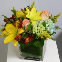 Autumn Floral Cube Fresh Arrangement