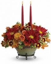 Autumn Glow Centerpiece Thanksgiving Centerpiece in a Keepsake Casserol Dish