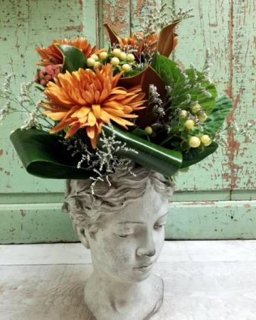 Autumn Goddess  Flower Arrangement in Keepsake Cement Planter