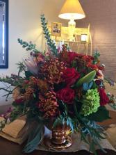 Autumn Greetings Bouquet  Autumn Flowers In A Pedestal Vase