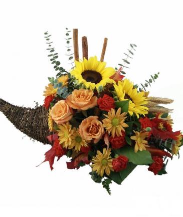 Autumn Harvest Cornucopia Centerpiece