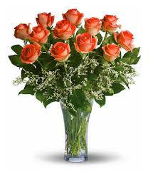 Fields of Orange Roses Vase Arrangement