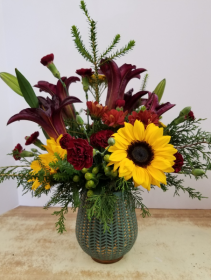 Autumn Harvest Vase fresh arrangement