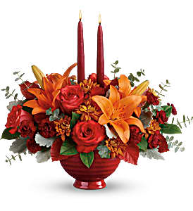 Autumn in Bloom Centerpiece 2 Gifts In One!! in Springfield, IL | FLOWERS BY MARY LOU INC