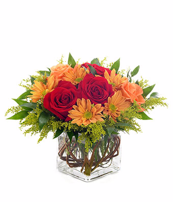 Autumn Inspirations  Square Vase arrangement