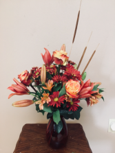 Autumn jewel Vase arrangment