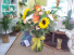 Autumn kissed Mixed flower vase with roses, all around style