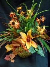 Autumn Lillies Silk Floral Arrangement
